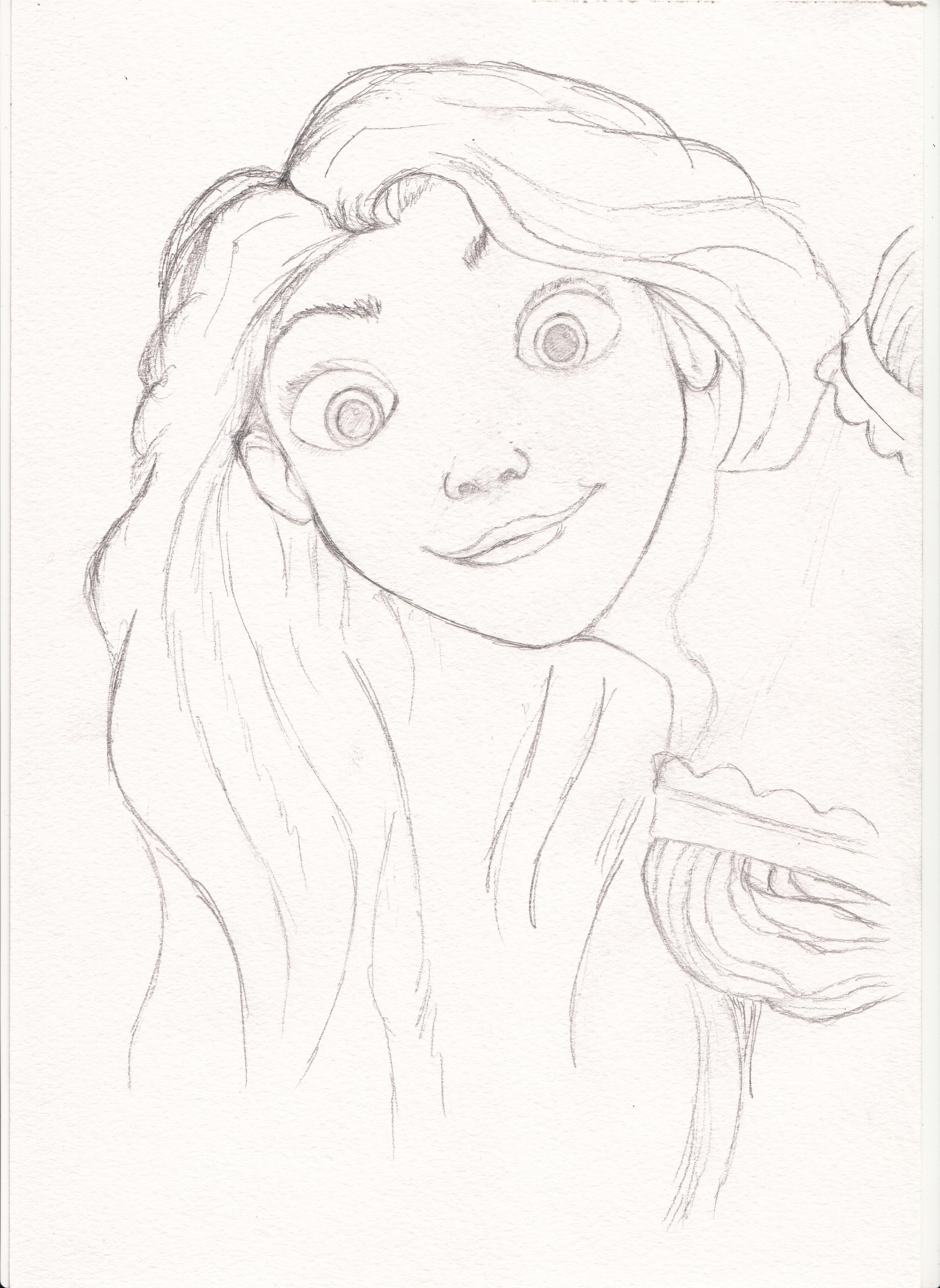 рисунки карандашом рапунцель:
